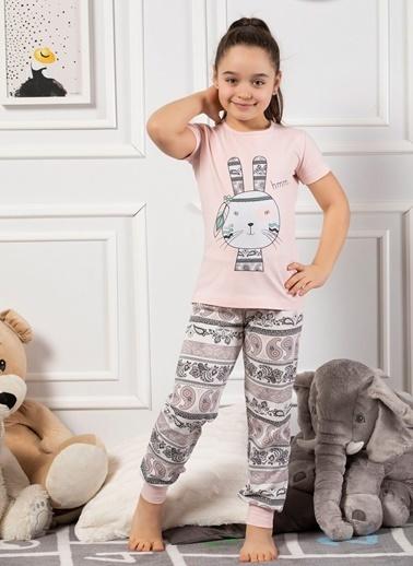 Elitol Pamuklu Likralı Kız Çocuk Pijama Takım Pembe